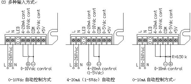 这是一种适合驱动三路随机型固态继电器,以构成三相交流移相调压电路的三相触发器。触发器内部集三相电压同步过零检测、移相电路、输入控制电路和三路驱动触发电路于一体,独特的全兼容输入控制模式, 0-5Vdc、0-10Vdc、4-20mA、1-5Vdc、0-10mA等自动方式均能适应,无须专门特别订制,也可用电位器手动控制。在输入控制作用下,产生三路可改变导通角度的脉冲信号再去分别控制三路单相随机型固态继电器,即可实现三相负载电压从0V到电网全电压的无级可调。输入调节范围宽,输出调节精度高,三相对称性好,抗干扰能