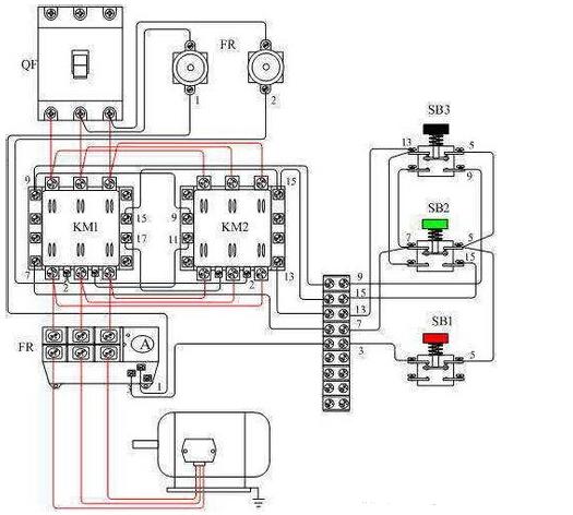 电动机正反转控制接触器怎么接线图片