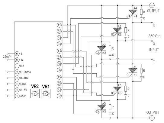 器(jg-t3scrf)与3只单向可控硅可组成三相半波整流直流调压的接线图