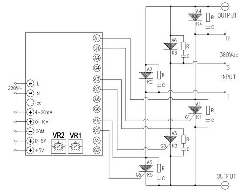 半波整流直流调压的接线图,适用于单相大电流阻性负载(负载另一端接
